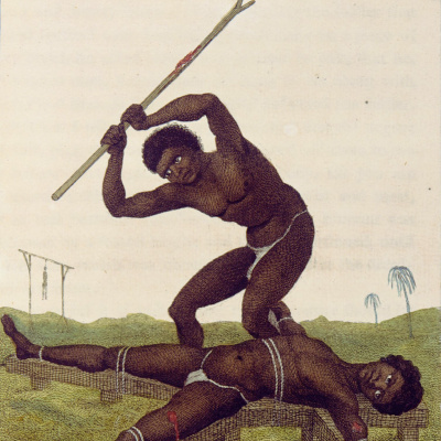 """Punishment of the slave on the rack. """"The story of a five year expedition against the rebellious Negroes of Suriname"""""""