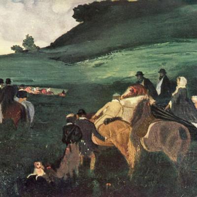 Пейзаж с всадниками