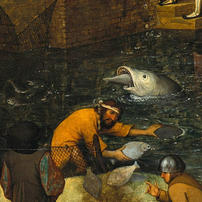 Flemish proverbs. Fragment: To fish without a net - to benefit from the work of other people