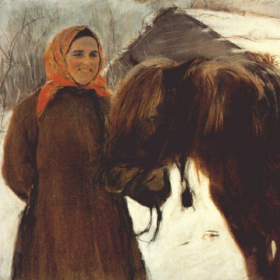 Peasant woman with a horse