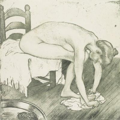Theophile-Alexander Steinlen. Woman wiping his feet