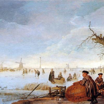 Зимний пейзаж с ловцами уток