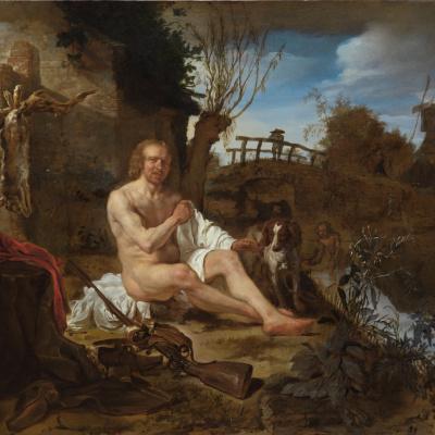Охотник, одевающийся после купания