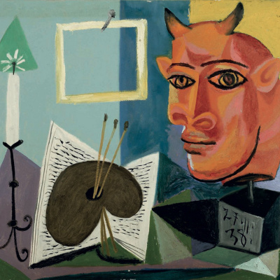 Still life with candle, palette and red head of Minotaur