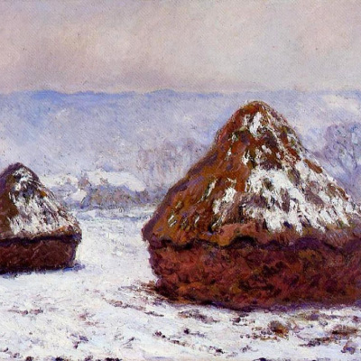 Haystacks. The effect of snow