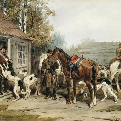 Сборы на охоту. У крыльца 1870.