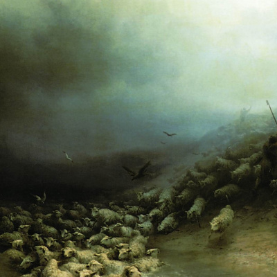 Flock of sheep in a storm
