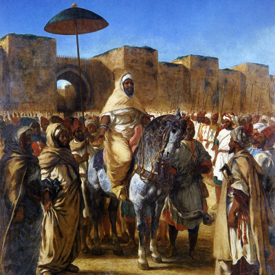 The Sultan of Morocco, Muley Abd-El-Rahman and his entourage