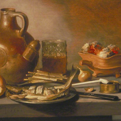 Still life with jug, herring and smoking accessories