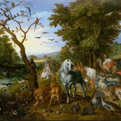 Ной собирает животных в ковчег