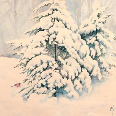 Ели в снегу и снегирь