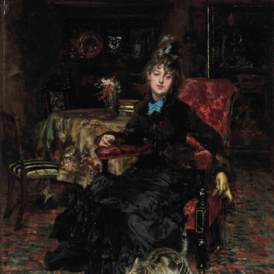 Seated woman with a cat