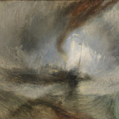 Snow storm. The ship at the entrance to the harbour (Blizzard)