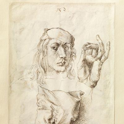 Автопортрет с этюдом руки и подушки (лицевая сторона листа)