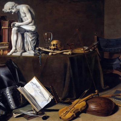 Still life with boy with thorn. Vanitas