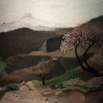 Blooming almonds. Italian landscape
