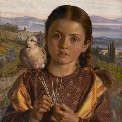 Italian child (Tuscan girl plaiting straw)
