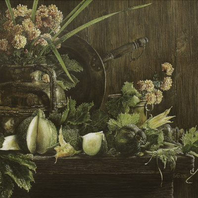Still life with courgettes and chrysanthemums
