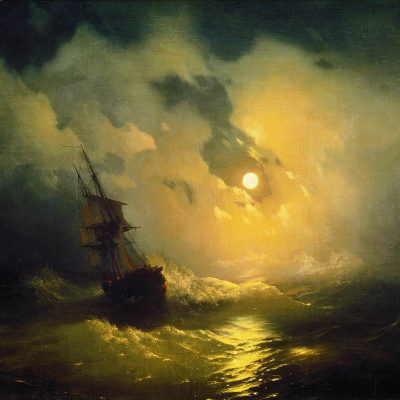 Storm on the sea at night