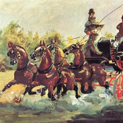 Граф Альфонс де Тулуз-Лотрек правит упряжкой из четырех лошадей