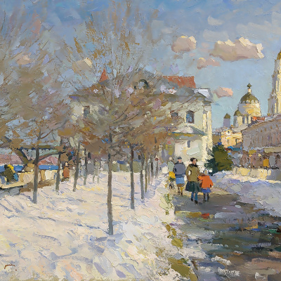 Spring on the waterfront in Rybinsk.Oil on canvas,37 x 75 cm 2016