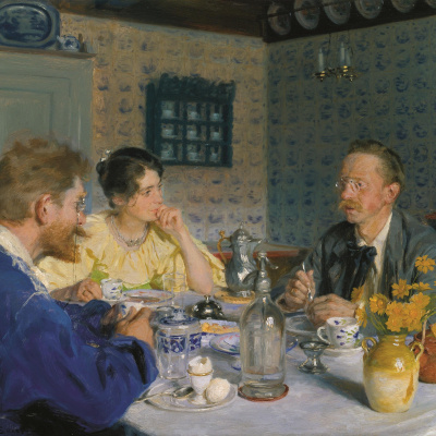Lunch. The artist, his wife and the writer Otto Benzon