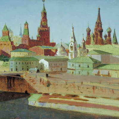 Moscow. View of the Moskvoretsky bridge, the Kremlin and St. Basil's Cathedral