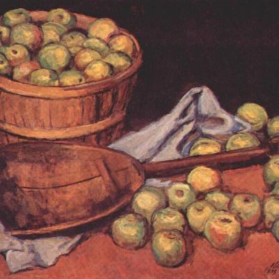 Зеленые яблоки с совком