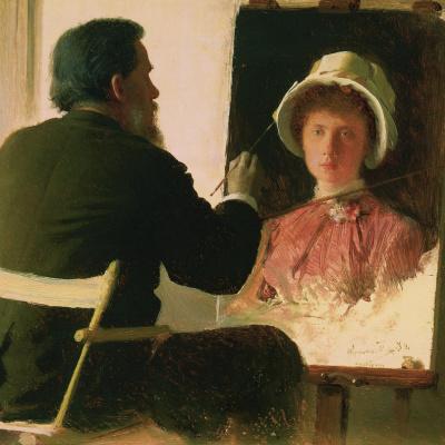 Крамской, пишущий портрет своей дочери