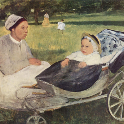 A child with a governess. Portrait of Henri Valpincon in infancy