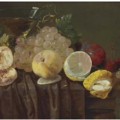 Grapes, peaches, lemons, plums, cherries and a Cup on a partially draped table