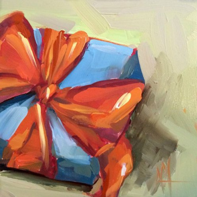 Angela Moulton. Blue gift with orange bow