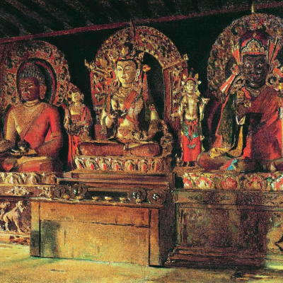 The three main deities in the Buddhist monastery, Chinaclear in Sikkim