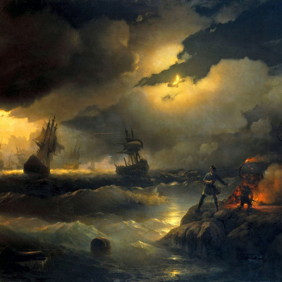 Peter the great in red hill, lit a bonfire on the beach to signal the dying ships with their