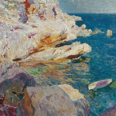Rocks and white boat Javea