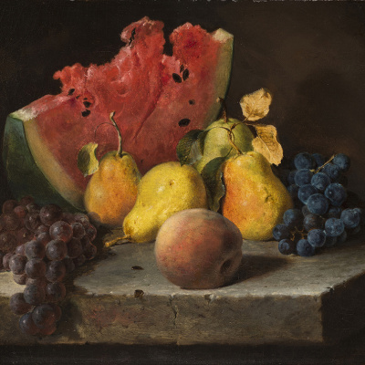 Still life with watermelon, pears and grapes