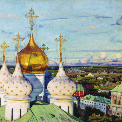 The dome and swallows. Assumption Cathedral of the Trinity Lavra of St. Sergius