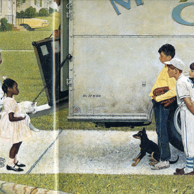 """New neighbors. Illustration for the magazine """"Look"""" (16 may 1967)"""