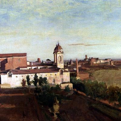 View of the Trinita dei Monti church from the Villa Medici