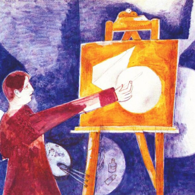 The artist at the easel. Self portrait