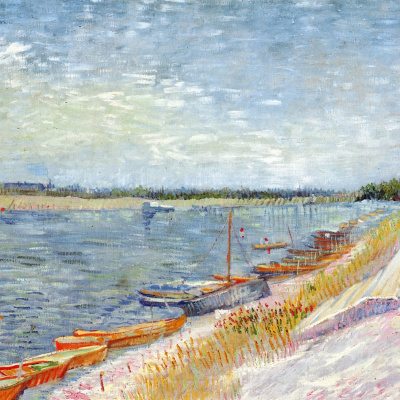 View of river with rowing boats