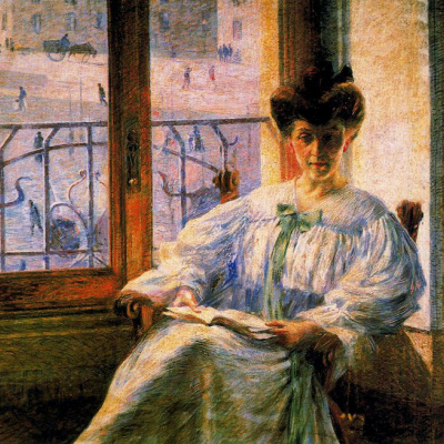 Женщина с книгой у окна