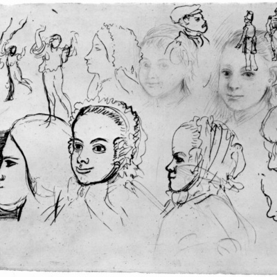 Sheet with sketches of portraits and figures