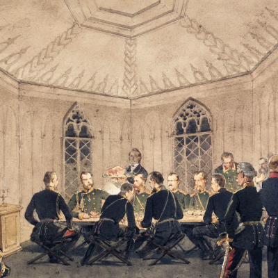 Alexander II with a group of military at the table in the Gothic interior. State Hermitage, St. Petersburg. Drawing entered in 1927 Transferred from the library of Alexander II in the Winter Palace.