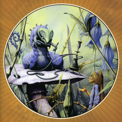 Rodney Matthews. The caterpillar and Alice