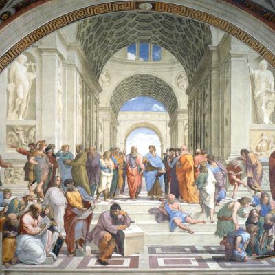 Афинская школа. Фреска Станца делла Сеньятура музея Ватикана