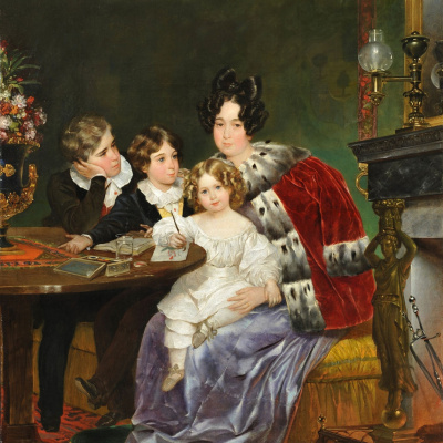 Portrait of E. P. Gagarina sons, Eugene, Leo and Theophilus