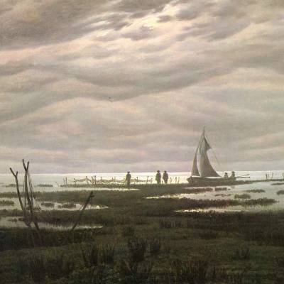Plain landscape. Evening on the Ostsee.
