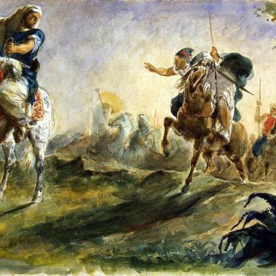 Arab horsemen galloping in search of