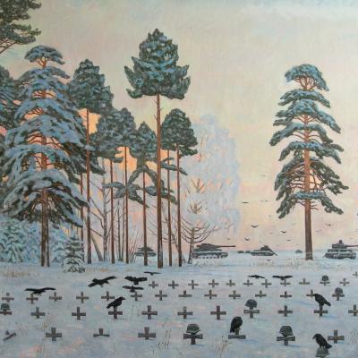 (Plan Barbarossa). German cemetery. oil on canvas 157 x 220cm. 2005.